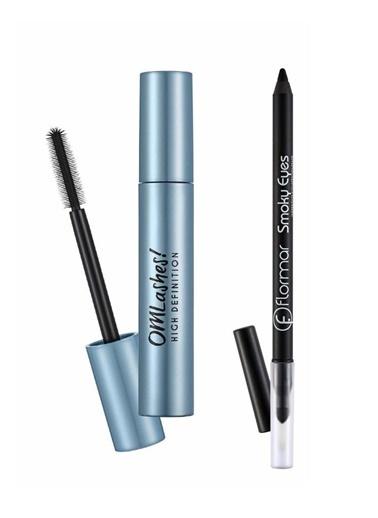 Flormar Flormar Waterproof Eyeliner Smoky  01.Carbon Black+ Omlashes High Defination Maskara 12 Ml Renkli